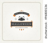 halloween typographic greeting... | Shutterstock .eps vector #496800136