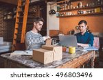 hard at work on their home... | Shutterstock . vector #496803496