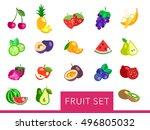 big fruit flat vector set | Shutterstock .eps vector #496805032