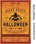 halloween night party poster...   Shutterstock .eps vector #496807408