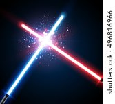 two crossed light swords fight. ...
