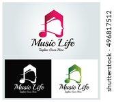 music life logo design template ...   Shutterstock .eps vector #496817512