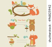 cute frames with forest animals ... | Shutterstock .eps vector #496825942