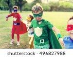 superheroes cheerful kids... | Shutterstock . vector #496827988