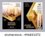 gold brochure layout design... | Shutterstock .eps vector #496831372