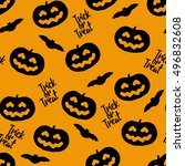 seamless pattern for halloween... | Shutterstock .eps vector #496832608