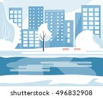 winter public park with trees ... | Shutterstock .eps vector #496832908