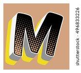 letter comic alphabet retro... | Shutterstock .eps vector #496833226