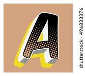 a letter comic alphabet retro... | Shutterstock .eps vector #496833376