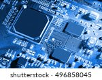 electronic circuit board close... | Shutterstock . vector #496858045