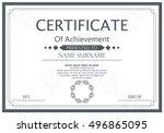 vector certificate template.... | Shutterstock .eps vector #496865095