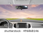 car rear view mirror inside the ... | Shutterstock . vector #496868146