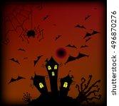 haloween cartoon freehand... | Shutterstock .eps vector #496870276