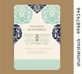 wedding invitation card with... | Shutterstock .eps vector #496874146