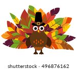 cute vector turkey with... | Shutterstock .eps vector #496876162
