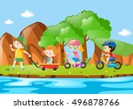 children in cart and on bike... | Shutterstock .eps vector #496878766