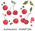 red cherry illustration in... | Shutterstock . vector #496887286