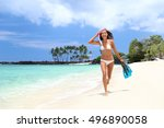 Bikini Woman Happy Having Fun...