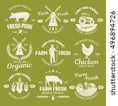 farm monochrome emblems of... | Shutterstock .eps vector #496894726