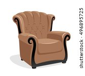 brown leather armchair. classic ... | Shutterstock .eps vector #496895725