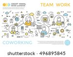 colored coworking horizontal... | Shutterstock .eps vector #496895845