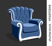 riverside leather armchair.... | Shutterstock .eps vector #496895848