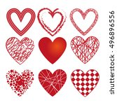set of different hearts. set of ... | Shutterstock .eps vector #496896556