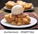 piece of apple pie served with...   Shutterstock . vector #496897366