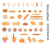 bakery and pastry products... | Shutterstock .eps vector #496897558