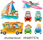 set of kids on different... | Shutterstock .eps vector #496897576