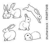 Stock vector collection of cute rabbit in different poses hand drawn vector for you design 496897648
