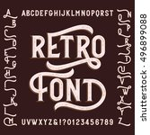 retro alphabet font with... | Shutterstock .eps vector #496899088