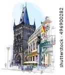 prague   powder tower  ... | Shutterstock .eps vector #496900282