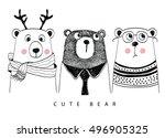cute bear | Shutterstock .eps vector #496905325