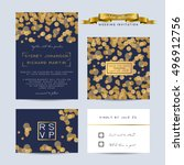 elegant wedding set with rsvp... | Shutterstock .eps vector #496912756