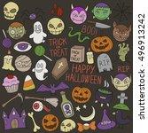 halloween clip art doodle icons ... | Shutterstock .eps vector #496913242