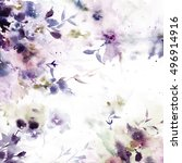 wedding invitation with floral... | Shutterstock . vector #496914916