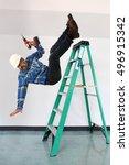 hispanic worker falling from...   Shutterstock . vector #496915342