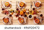 top down view on place setting... | Shutterstock . vector #496920472