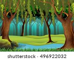 natural stream in forest scene | Shutterstock .eps vector #496922032
