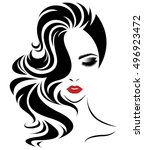 illustration of women long hair ... | Shutterstock .eps vector #496923472