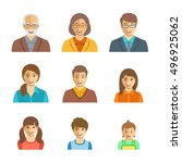 family members happy faces.... | Shutterstock .eps vector #496925062