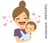 beautiful young mother hugging... | Shutterstock .eps vector #496931992