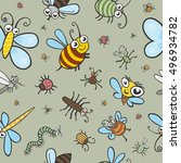 funny bugs  ladybird and... | Shutterstock .eps vector #496934782