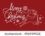 merry christmas lettering... | Shutterstock .eps vector #496939018