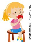 little girl eating apple... | Shutterstock .eps vector #496943782