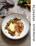 Small photo of Red mullet fillet with roast garlic aioli , chanterelle mushrooms and parsley
