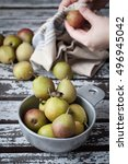 Small photo of Mini Seckel pears in a vintage pewter bowl. Female hands cleaning them with a kitchen towel.