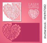 laser cut wedding invitation or ...   Shutterstock .eps vector #496947082