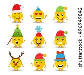 set of holiday smiley faces ... | Shutterstock .eps vector #496949842